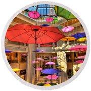 Umbrellas At Palazzo Shops Round Beach Towel