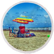 Umbrellas At The Beach Round Beach Towel