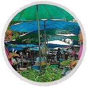 Umbrellas In The Marketplace In Tachilek-burma Round Beach Towel