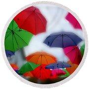 Umbrellas In The Mist Round Beach Towel