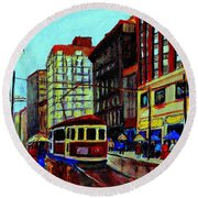 Umbrellas In The Rain Couples Stroll St.catherine Street Downtown Montreal Vintage  City Scene  Round Beach Towel
