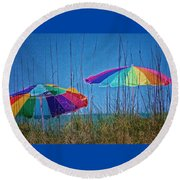 Umbrellas On Sanibel Island Beach Round Beach Towel