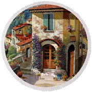 Un Cielo Verdolino Round Beach Towel by Guido Borelli