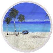 Una Barca Blu Round Beach Towel