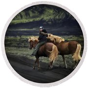 Unable To Stay. Unwilling To Leave. Round Beach Towel