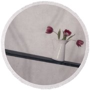 Unbalanced Flowers Round Beach Towel