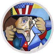 Uncle Sam 2001 Round Beach Towel