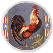 Uncle Sam The Rooster Round Beach Towel