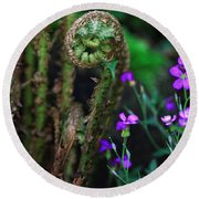 Uncurling Fern And Flower Round Beach Towel