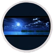 Under A Silvery Moon...artistic Effect Round Beach Towel