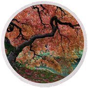 Under Fall's Cover Round Beach Towel