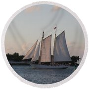 Under Full Sail Round Beach Towel