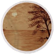 Under Moonlight Original Coffee Painting Round Beach Towel
