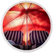 Under My Umbrella Round Beach Towel