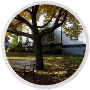 Under The Autumn Canopy Round Beach Towel