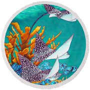 Under The Bahamian Sea Round Beach Towel by Daniel Jean-Baptiste