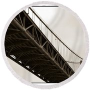 Under The Bay Bridge Round Beach Towel