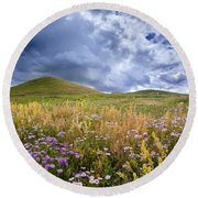 Under The Big Sky Round Beach Towel