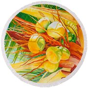 Under The Coconut Palm Round Beach Towel