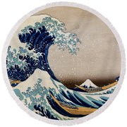 Under The Great Wave Off Kanagawa Round Beach Towel