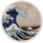 Under The Great Wave Off Kanagawa Round Beach Towel
