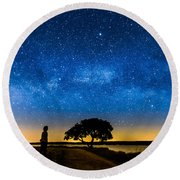 Under The Milky Way II Round Beach Towel