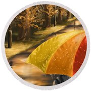 Under The Rain Round Beach Towel