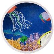 Under The Sea Mural 1 Round Beach Towel