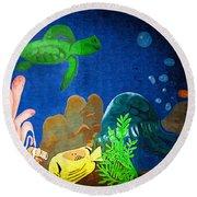Under The Sea Mural 2 Round Beach Towel