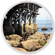Under The Steinbeck Plaza Overlooking Monterey Bay On Monterey Cannery Row California 5d25050 Round Beach Towel