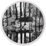 Under The Tall Trees Round Beach Towel