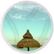 Under The Umbrella Round Beach Towel