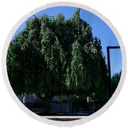 Under The Weeping Tree Round Beach Towel