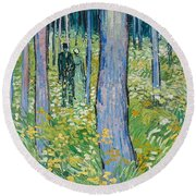 Undergrowth With Two Figures Round Beach Towel