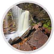 Underneath The B Reynolds Waterfall Round Beach Towel