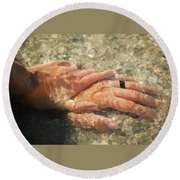 Underwater Hands Round Beach Towel