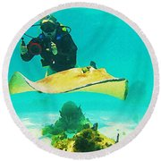Underwater Photographer And Stingray Round Beach Towel