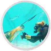 Underwater Photography Round Beach Towel
