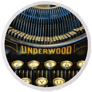 Underwood Typewriter Round Beach Towel