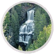 109008-undine Falls In Yellowstone Round Beach Towel