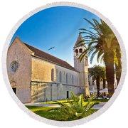 Unesco Town Of Trogir Church View Round Beach Towel