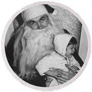 Unhappy Santa Claus Round Beach Towel