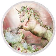 Unicorn And A Rose Round Beach Towel