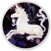 Unicorn Floral Round Beach Towel by Genevieve Esson