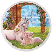 Unicorn Mother And Foal Round Beach Towel
