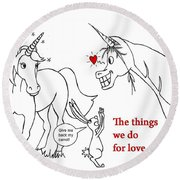 Unicorn Valentines Card Round Beach Towel