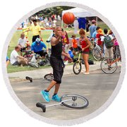 Unicyclist - Basketball - Street Rules  Round Beach Towel