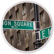 Union Square West I Round Beach Towel by Susan Candelario