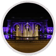 Union Station In Blue Round Beach Towel