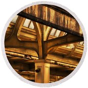Union Station Roof Structure Round Beach Towel
